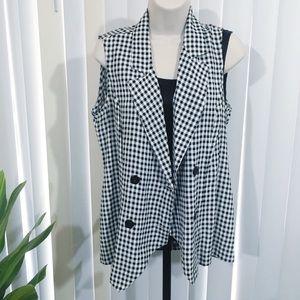 Vintage 80s 90s Black White Plaid Checked Vest